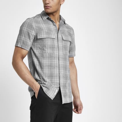 Grey check short sleeve shirt