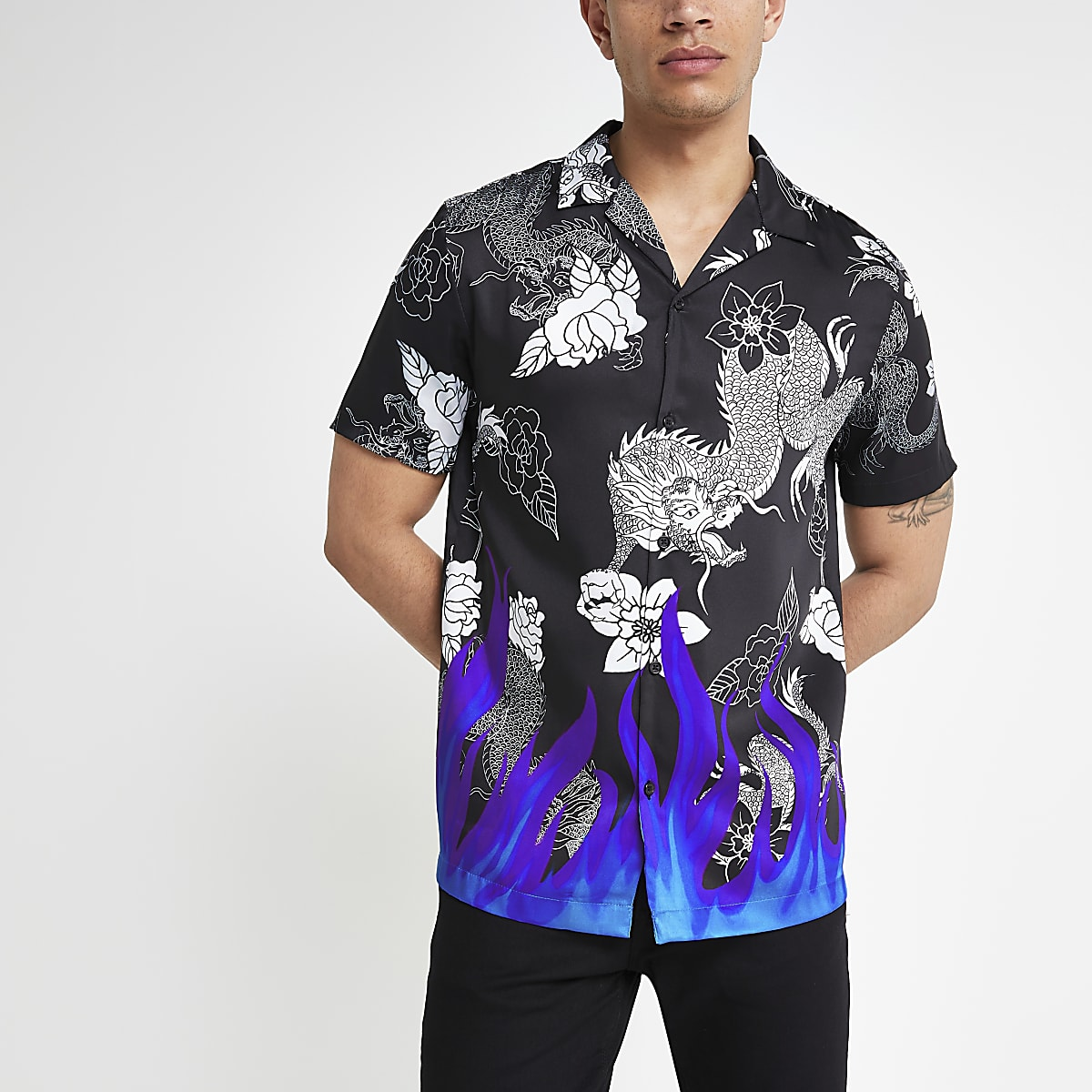 Black neon flame short sleeve shirt