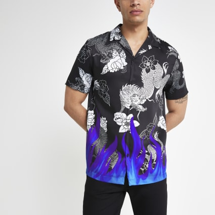 Black neon flame short sleeve shirt
