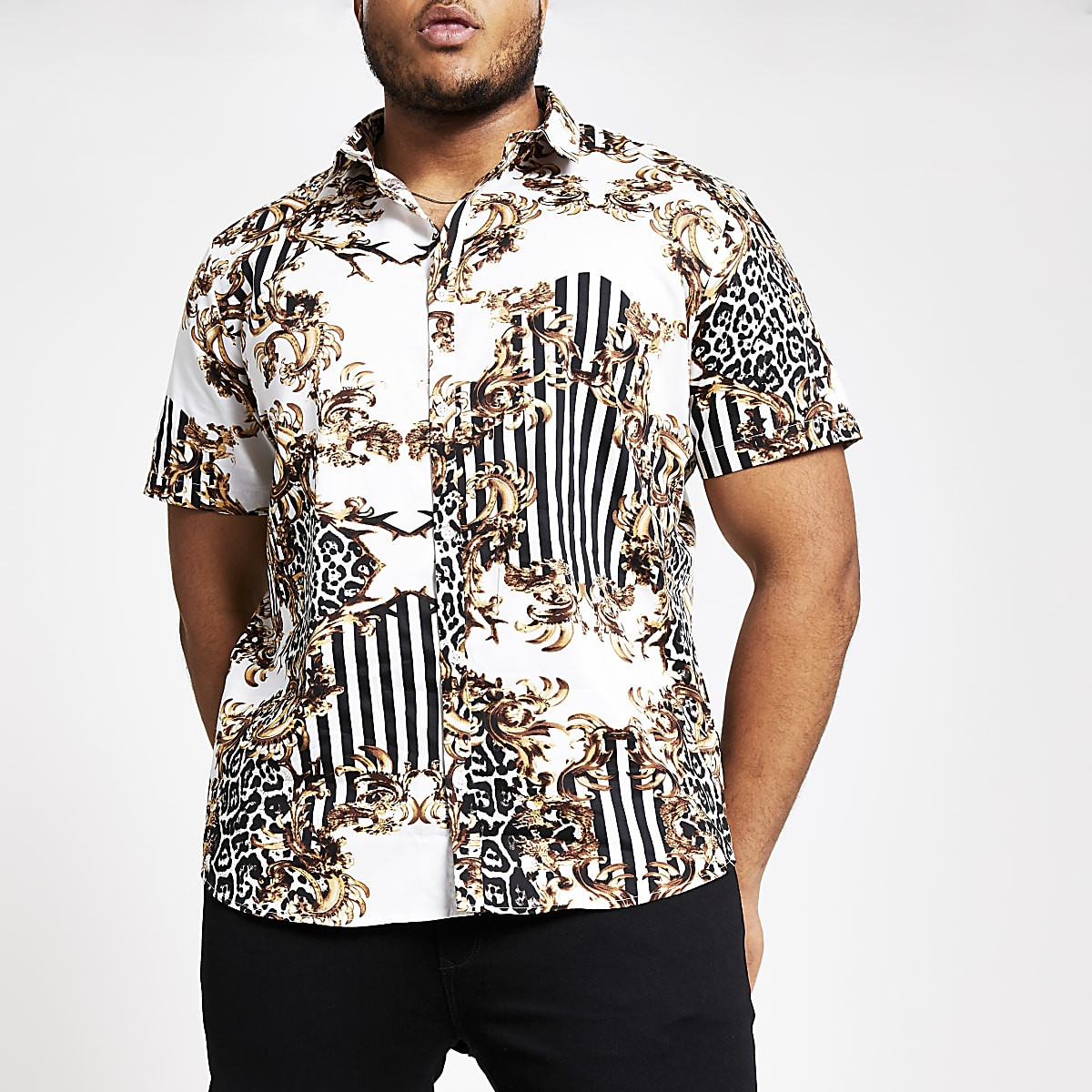 Big and Tall slim fit baroque print shirt