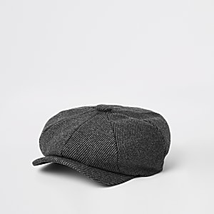 Grey herringbone baker boy cap