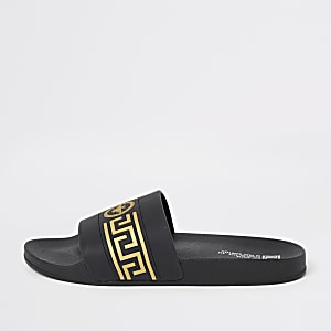 Zwarte slippers met print