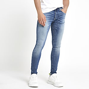 Ollie - Middenblauwe skinny spray-on ripped jeans