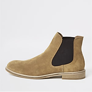 Selected Homme – Bottines chelsea en daim marron