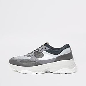 Selected Homme - Grijze sneakers met profielzool