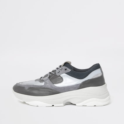 Selected Homme grey chunky runner trainers