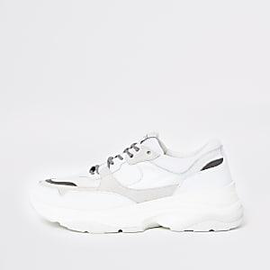 Selected Homme – Baskets de course blanches à semelles épaisses