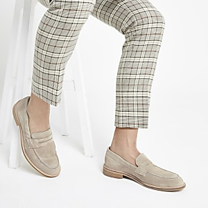 Selected Homme - Kiezelkleurige suède loafers