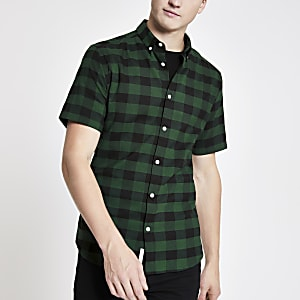 Green check muscle fit short sleeve shirt