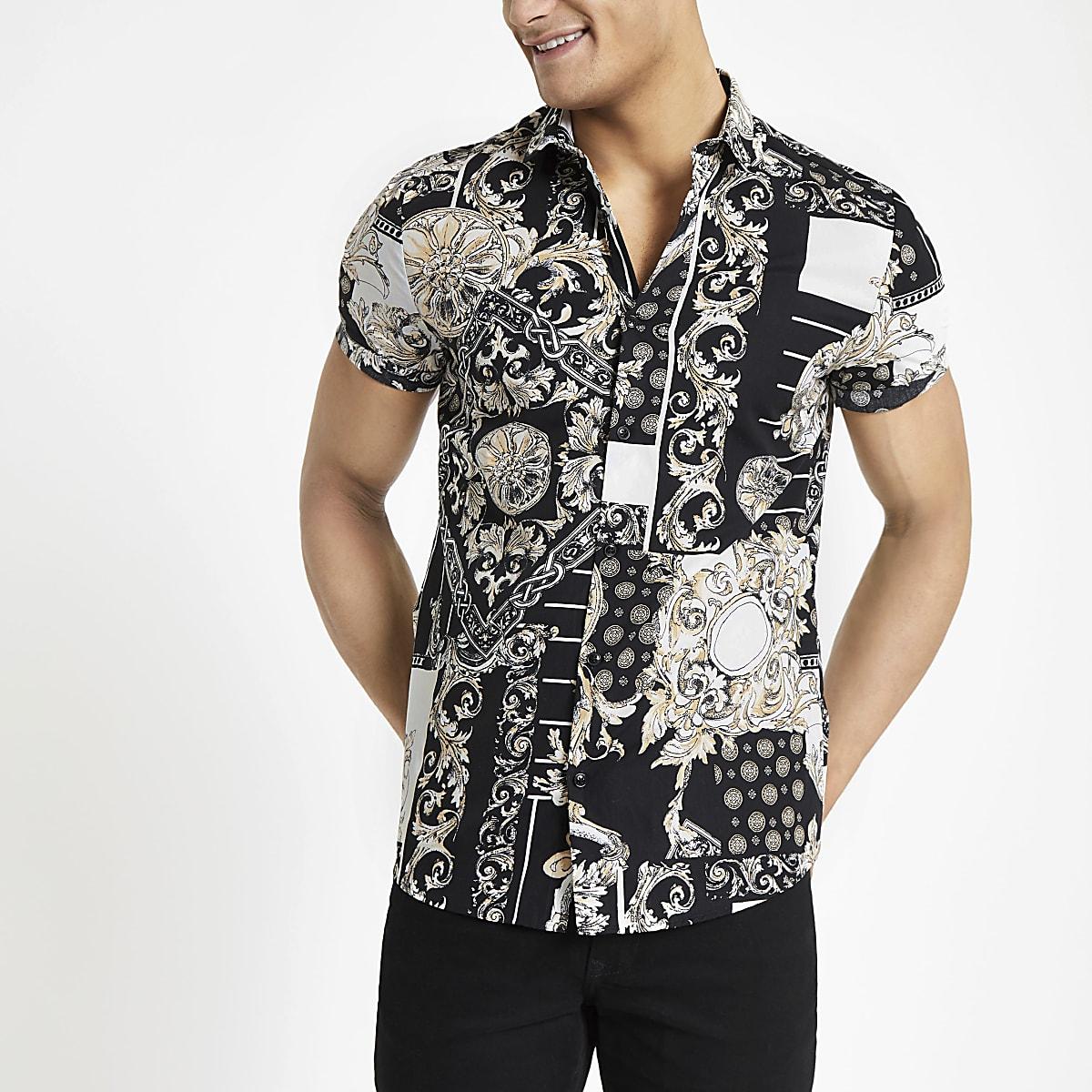 White jose print slim fit short sleeve shirt