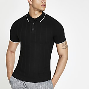 Black knitted stitch muscle fit polo shirt