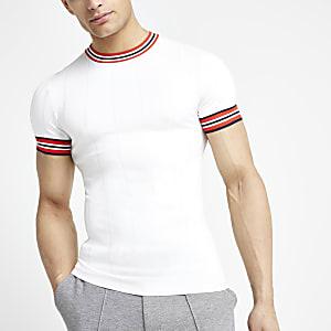 Wit aansluitend gestreept T-shirt