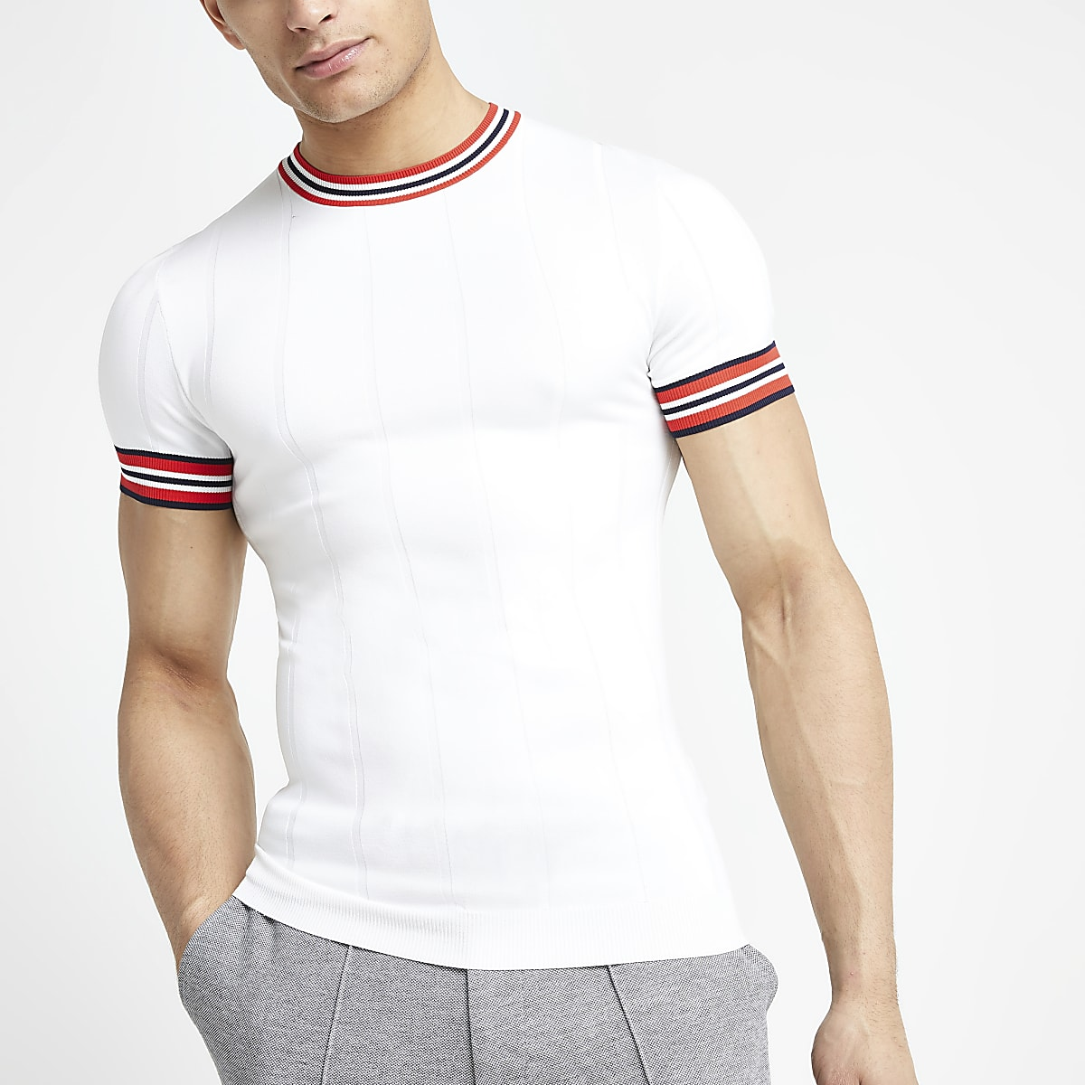 White muscle fit stripe tripped T-shirt