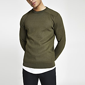 Khaki slim fit textured knit sweater