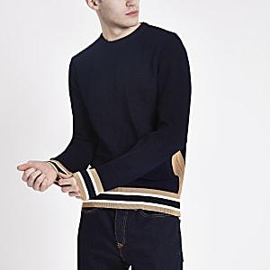 Pull slim bleu marine texturé