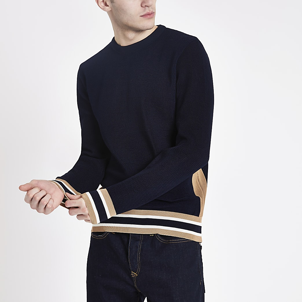 Navy textured slim fit jumper