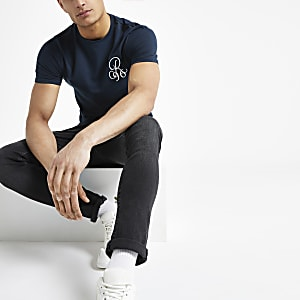 Navy muscle fit R96 embroidered T-shirt