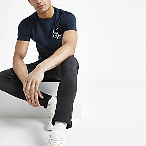 T-shirt ajusté bleu marine à broderie R96