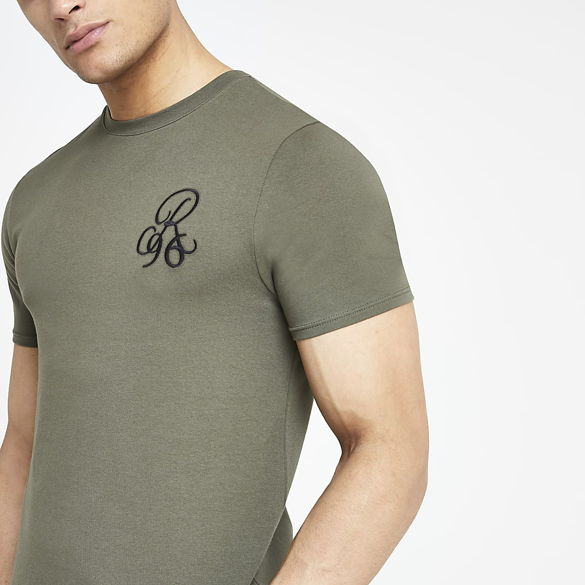 Khaki muscle fit R96 embroidered T-shirt