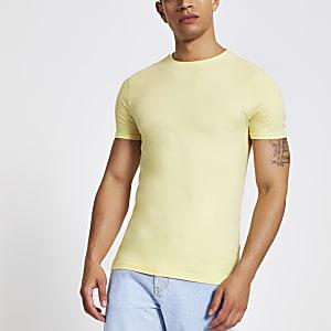 T-shirt ajusté ras-du-cou jaune