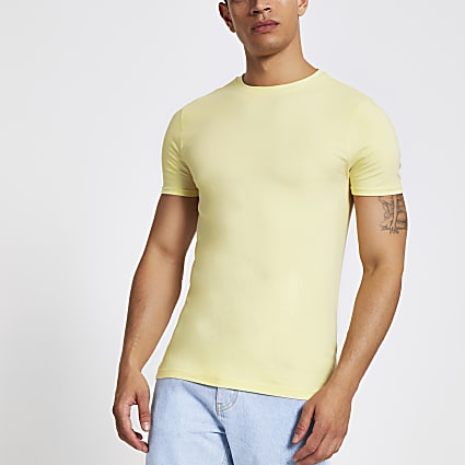 Yellow muscle fit crew neck T-shirt