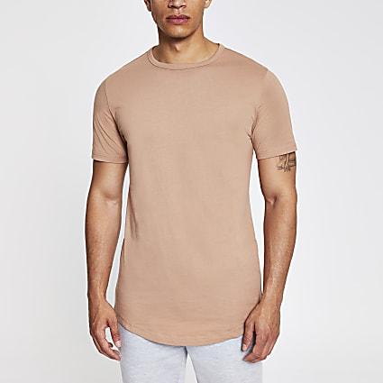 Light brown curved hem longline T-shirt