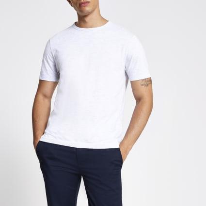Light grey slim fit crew neck T-shirt