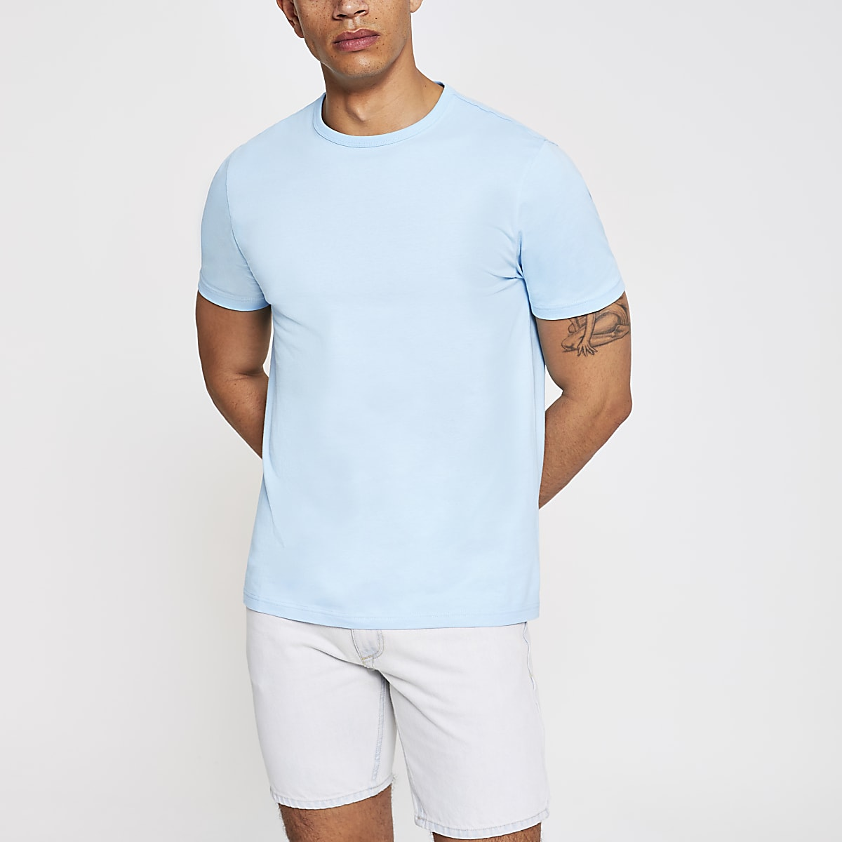 Light blue slim fit crew neck T-shirt