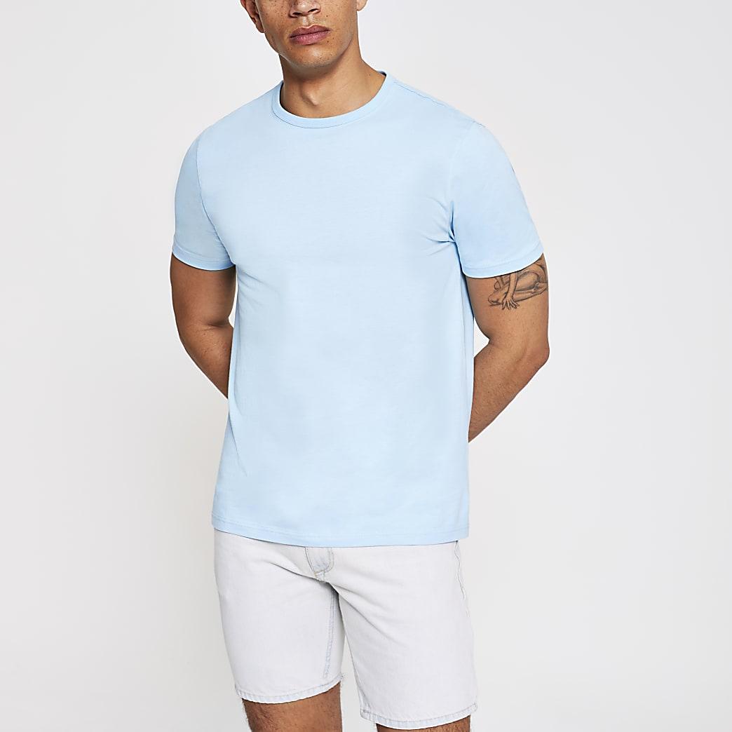 Lichtblauw slim-fit T-shirt met ronde hals