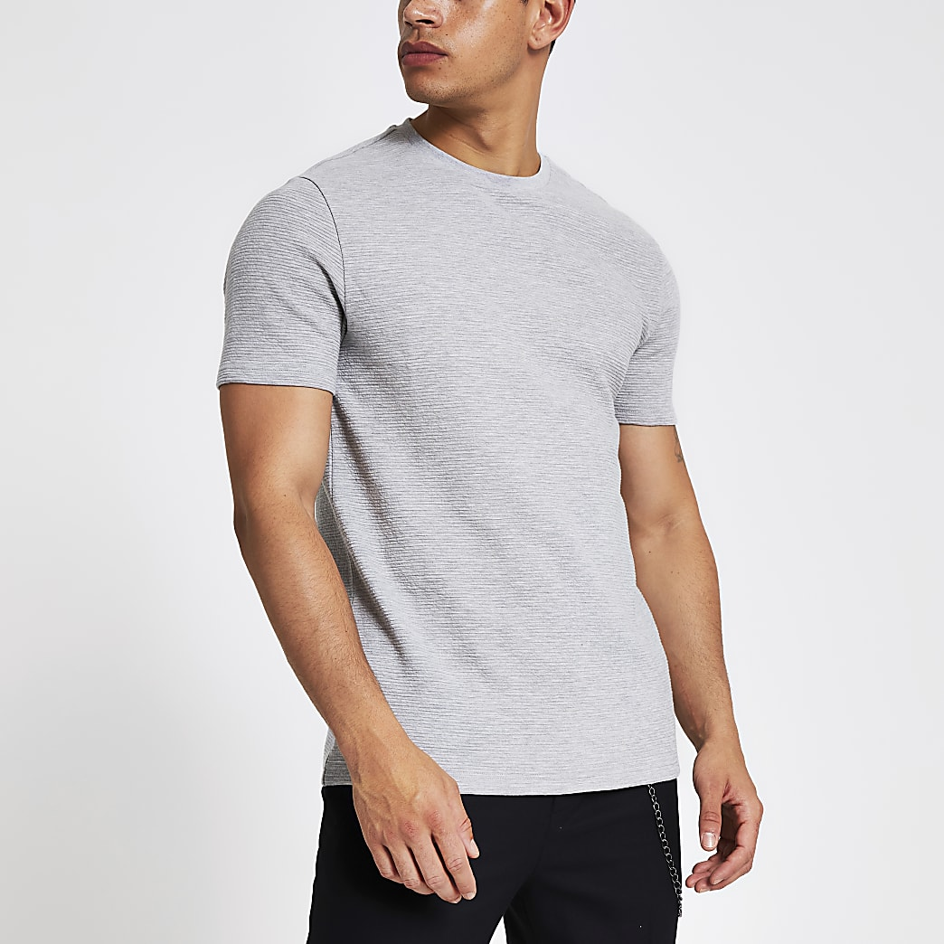 Grijs geribbeld slim-fit T-shirt