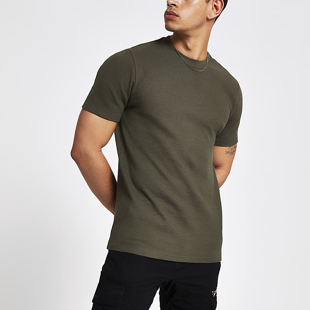 Khaki ribbed slim fit T-shirt
