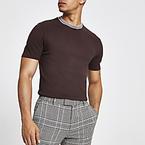 Burgundy slim fit pique T-shirt