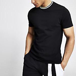 T-shirt slim noir à bordure contrastante