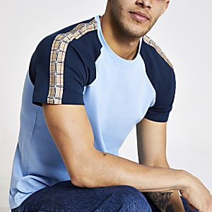 Blue raglan check tape slim fit T-shirt