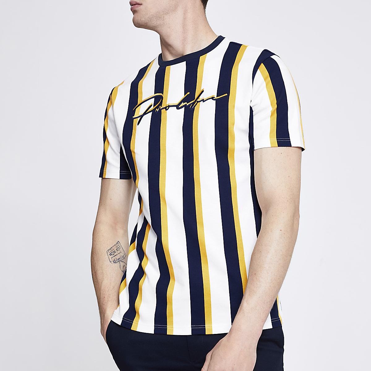 White stripe 'Prolific' slim fit T-shirt