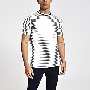 White stripe muscle fit T-shirt