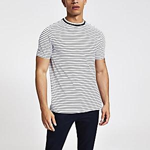 T-shirt ajusté rayé blanc