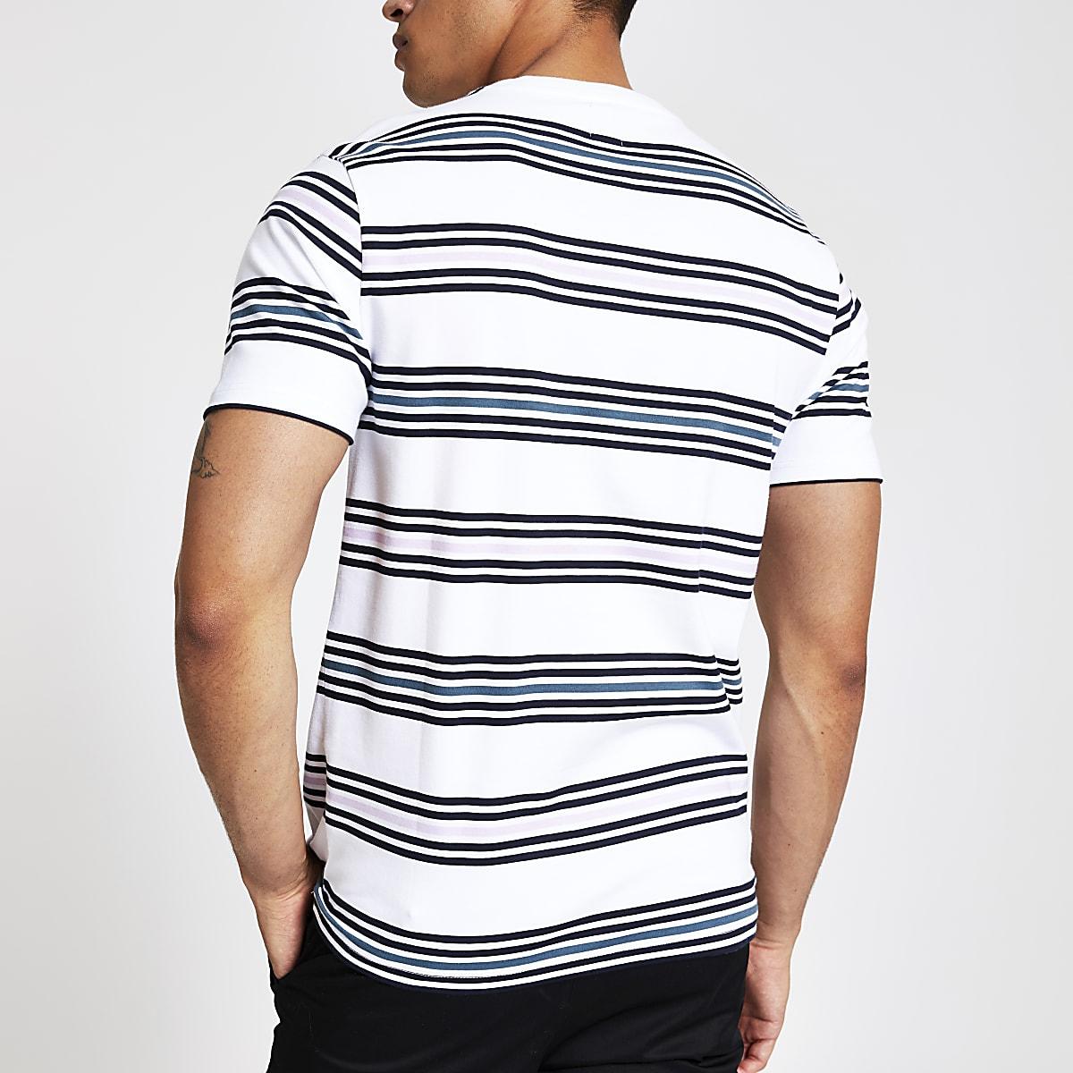 680aaba69b31e7 White stripe Maison Riviera slim fit T-shirt - T-shirts - T-shirts ...