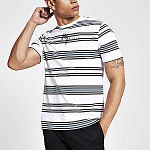 T-shirt slim «Maison Riviera» rayé blanc