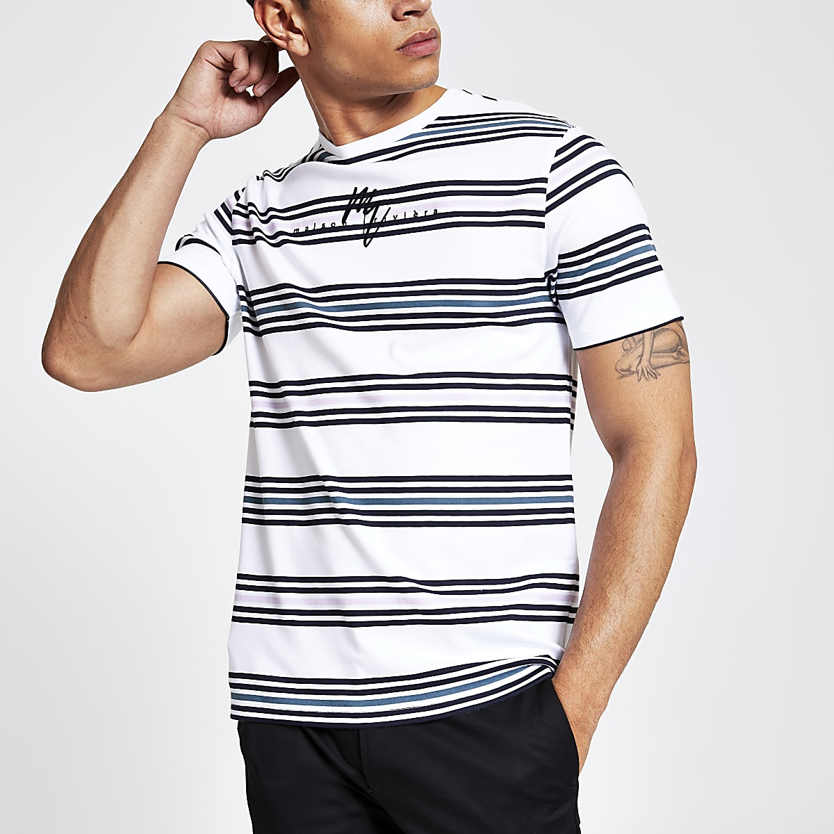 White stripe Maison Riviera slim fit T-shirt
