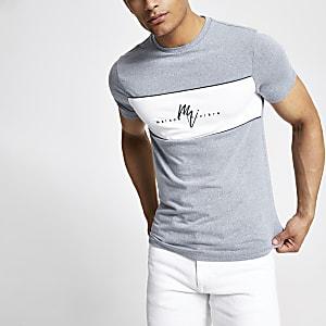 Blauw aansluitend 'Maison Riviera' T-shirt