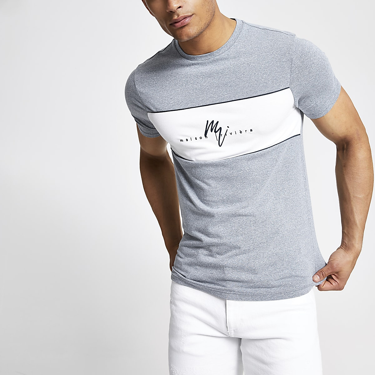 Blue Maison Riviera muscle fit T-shirt