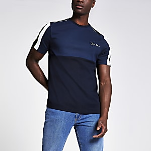 Marineblauw slim-fit T-shirt met 'Prolific'-print