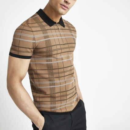 Brown check muscle fit zip neck polo shirt