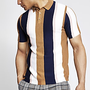 Brown stripe slim fit knitted polo shirt