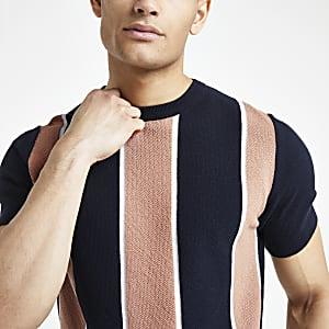 T-shirt slim en maille rayé bleu marine