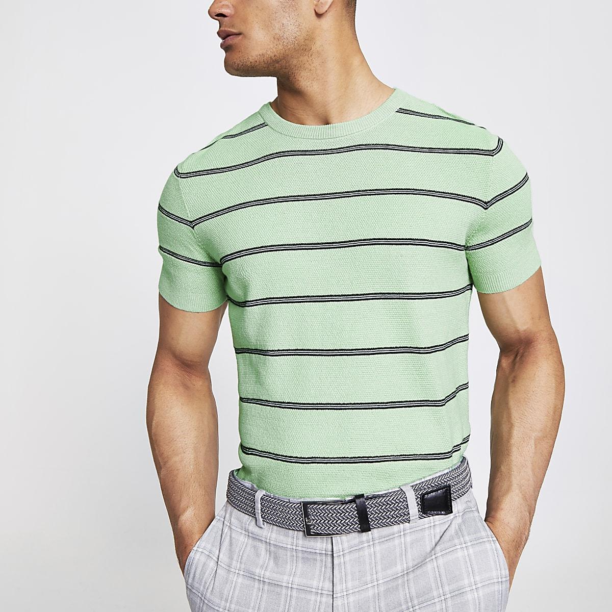 Lichtgroen gestreept slim-fit gebreid T-shirt