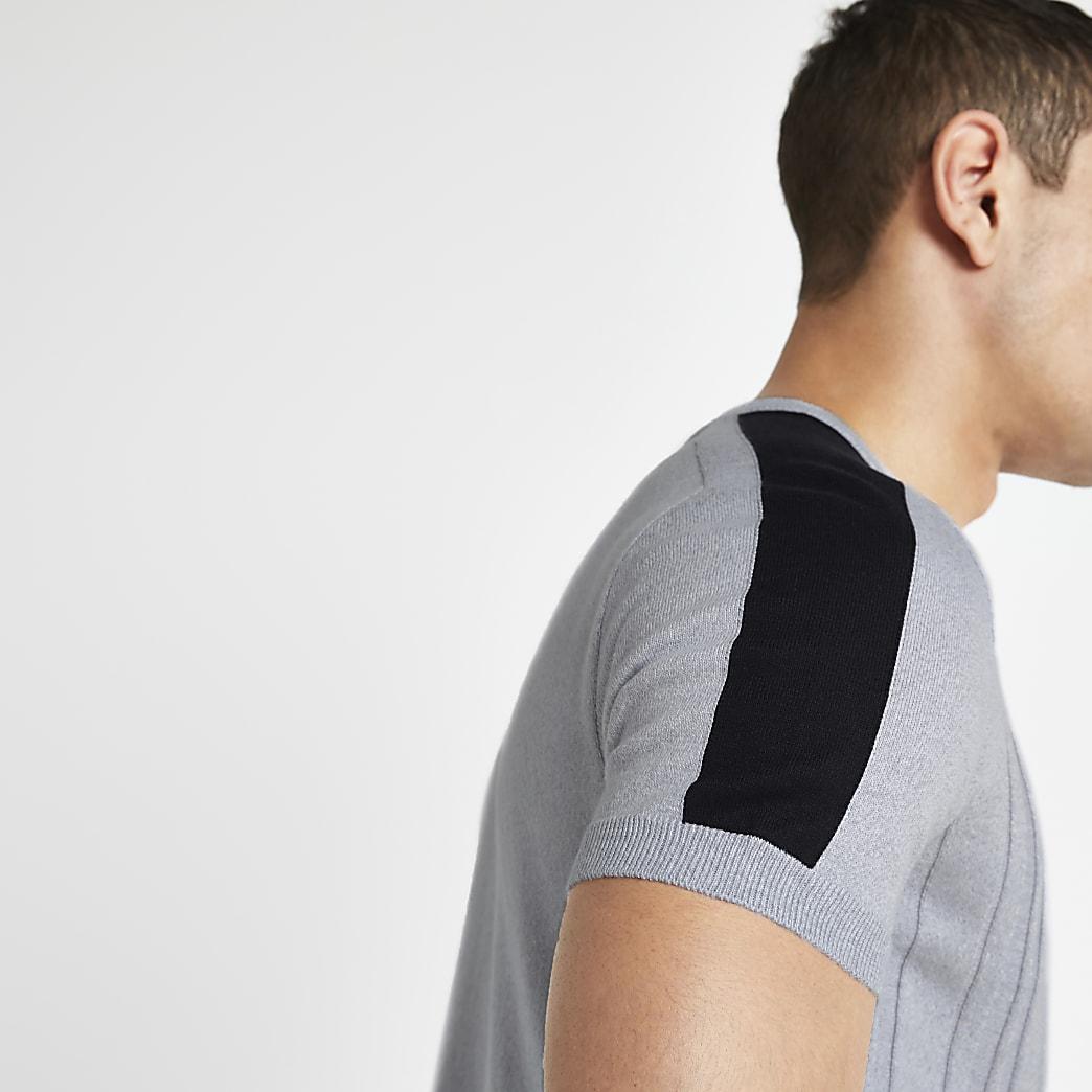 Grijs geribbeld slim-fit gebreid T-shirt
