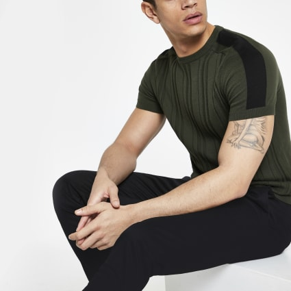 Green ribbed knitted slim fit T-shirt