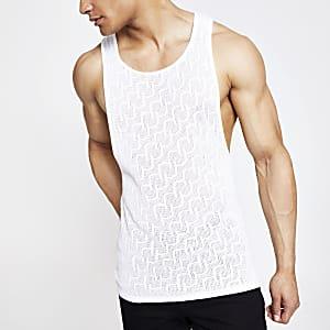 Ecru slim-fit gebreid hemdje met mesh